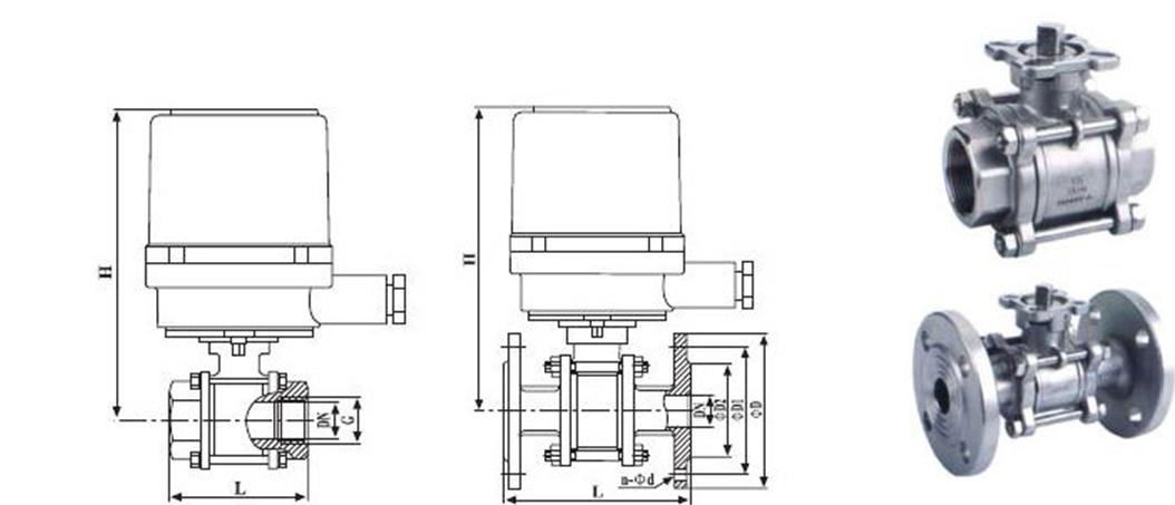 结构示意图,连接尺寸与电动装置选配表