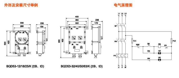 正反转防爆磁力启动器主要技术参数 额定电压:380v 额定电流:12a,18a