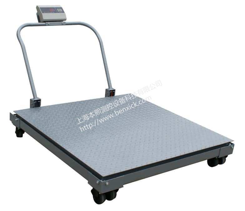 <strong>新疆2T带轮子电子地磅秤,移动式平台秤</strong>