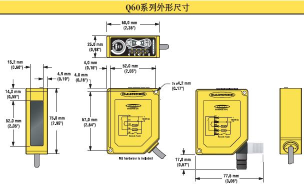 产品特点: - 在设定的检测范围内检测物体,关断点以外的物体将被忽略 - 2圈对数调节,检测关断点从0.2到2m可调 - 有红外光,可见红光或雷射选择 - 使用旋转指针指示检测范围内的关断点设定值 - 标准10到30V dc,双极性NPN/PNP输出,或 12到250V ac和24到250V ac e/m继电器输出 - 简易按键设定,或亮暗态操作远程编程,输出延时 - 使用持续状态指示灯来快速校验所有设定 大包装物件检测 检测传送带上大包装物件通过。大型的箱体,比如,货运的箱子,在传送带上需要通过传感器