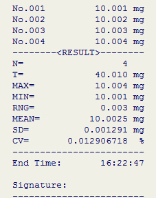 电子天平统计模式打印机打印格式-上海本熙科技